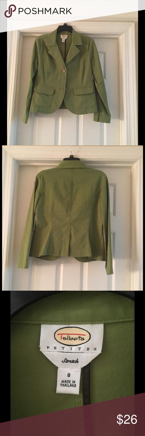 Talbots green petite blazer Excellent condition only work once or twice. There button blazer. Size 8 petite Talbots Jackets & Coats Blazers