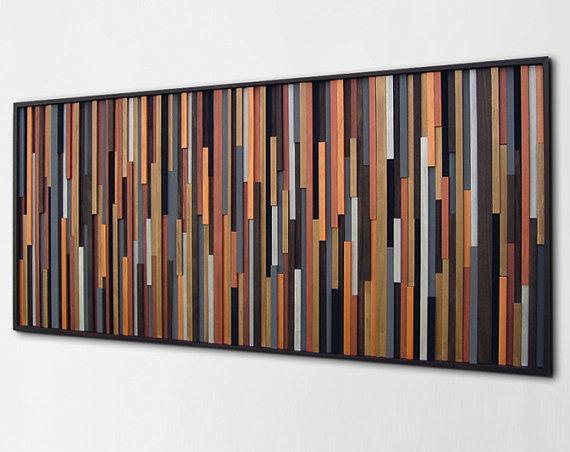 Metal Wood Wall Decor rustic metallic modern wood wall art metal art por modernrusticart