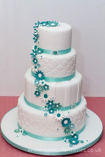 4 Tier White & Tiffany Blue wedding cake, by sweet fantasies ...