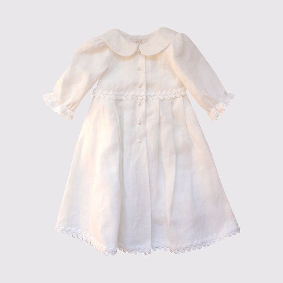 Baptism baby girl linen dress with crochet cords by EcoEmi on Etsy