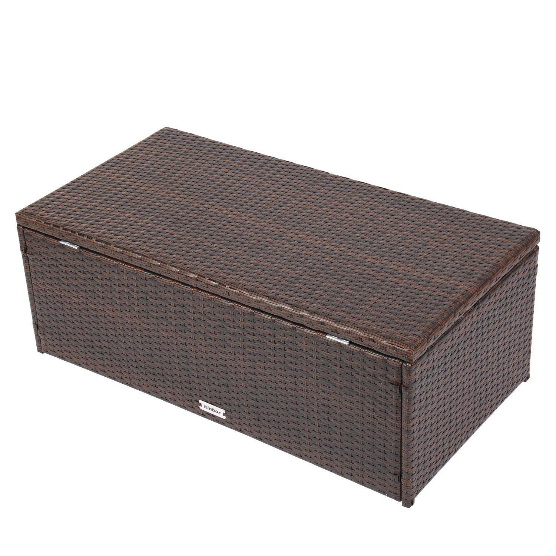 Kinbor Outdoor Wicker Storage Bins Patio Rattan Deck Box Garden