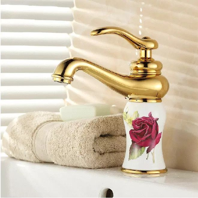 Free Shipping New Gold Taps Bathroom Tap Br Chromed Faucet Bath Mixer Single Handle