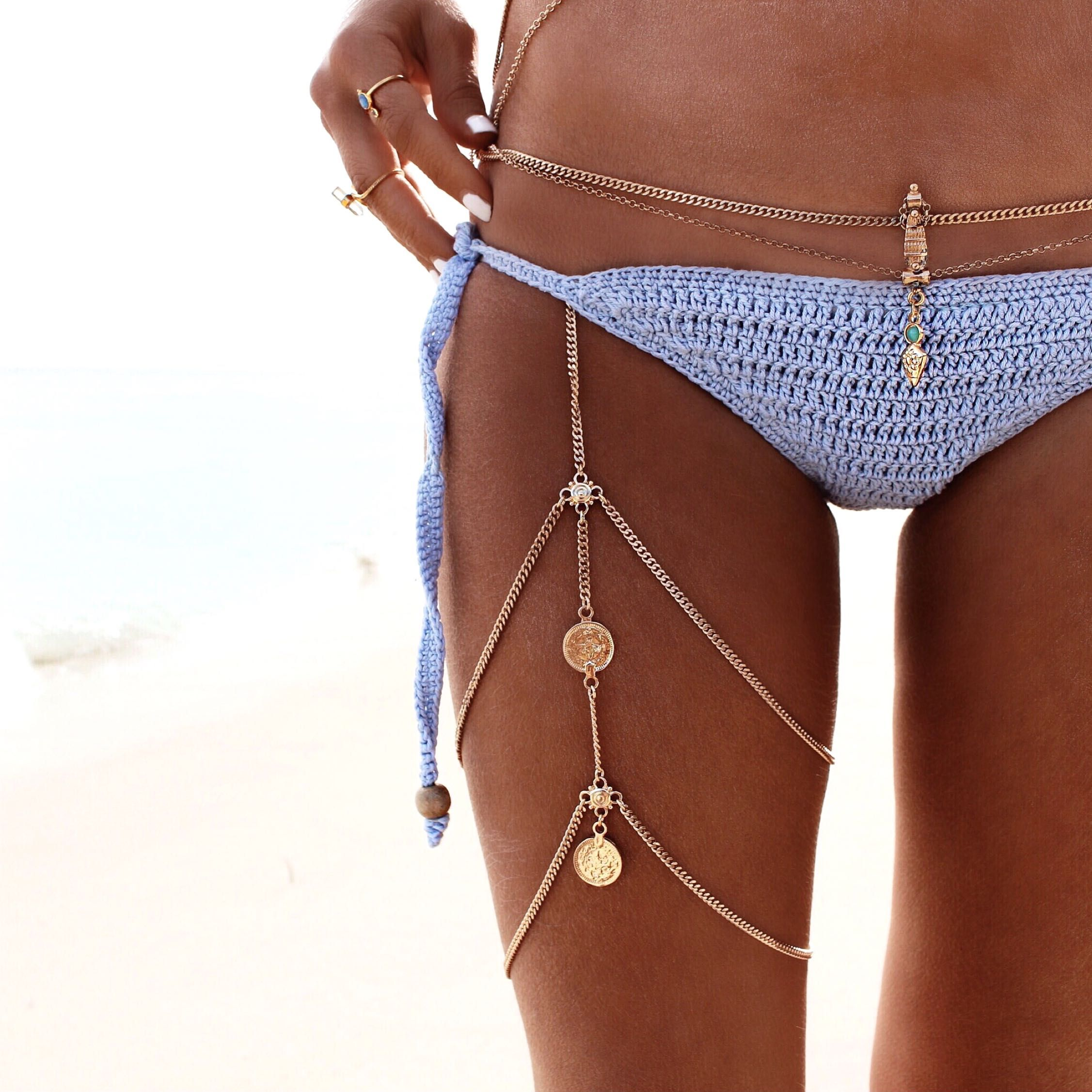 Sexy Antique Silver Gold Stretchy Bikini Thigh Leg Tassel Chains Coins Pendant Multilayer Crossover Harness Garter Body Jewelry wK1InHSXNx