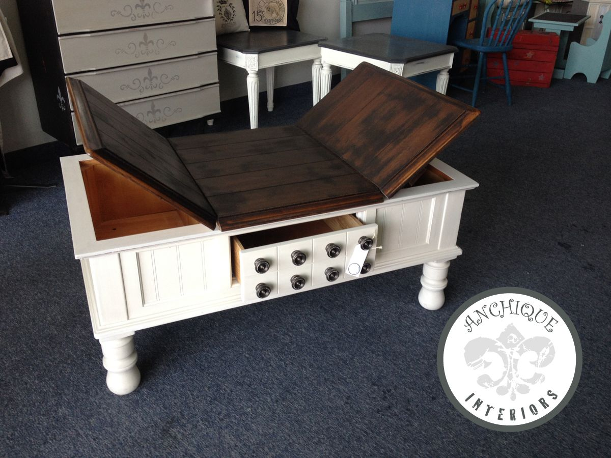 Java Coffee Table Coffee Table With Gel Stained Top Java And Chalk Paint Base In