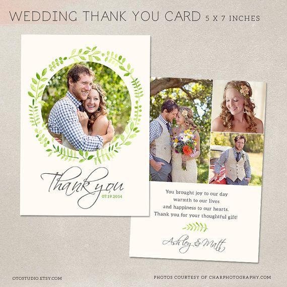 wedding thank you card template for photographers psd flat card