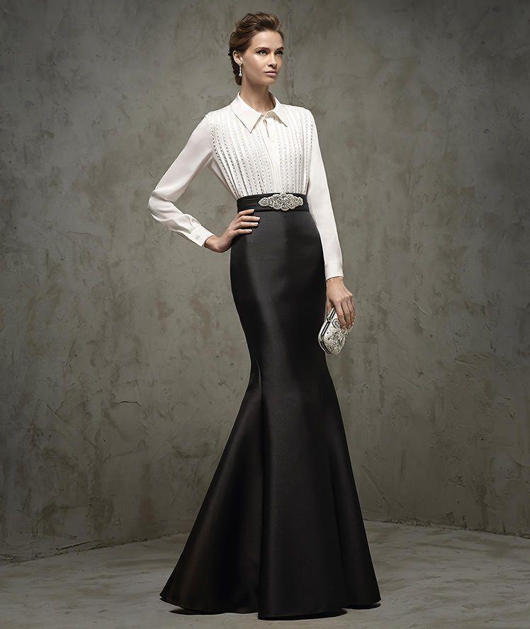 Vestido blanco y negro para ir de boda