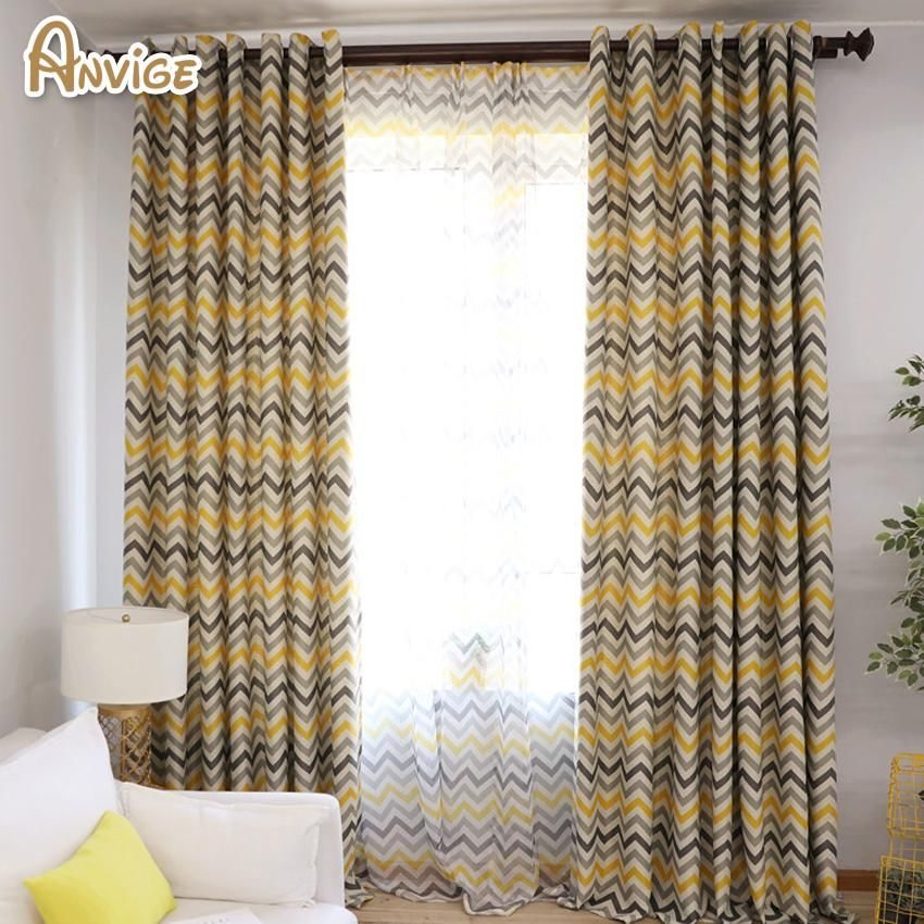 Anvige Modern Waves Pattern Blackout Curtains High Quality Fashion Style For Home And Coffee Living Room Drapes Curtains With Blinds Tulle Curtains