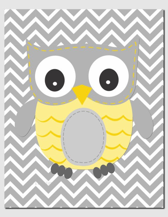 Owl Nursery Art Yellow Gray Owls Initial Monogram by vtdesigns ...