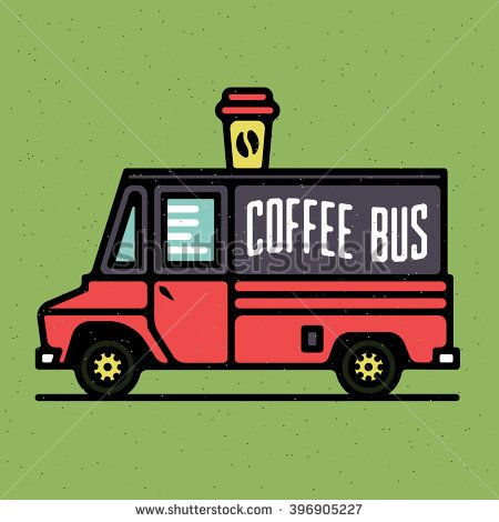 One thin line, flat vintage retro coffee van, street food, vector illustration on grange texture background