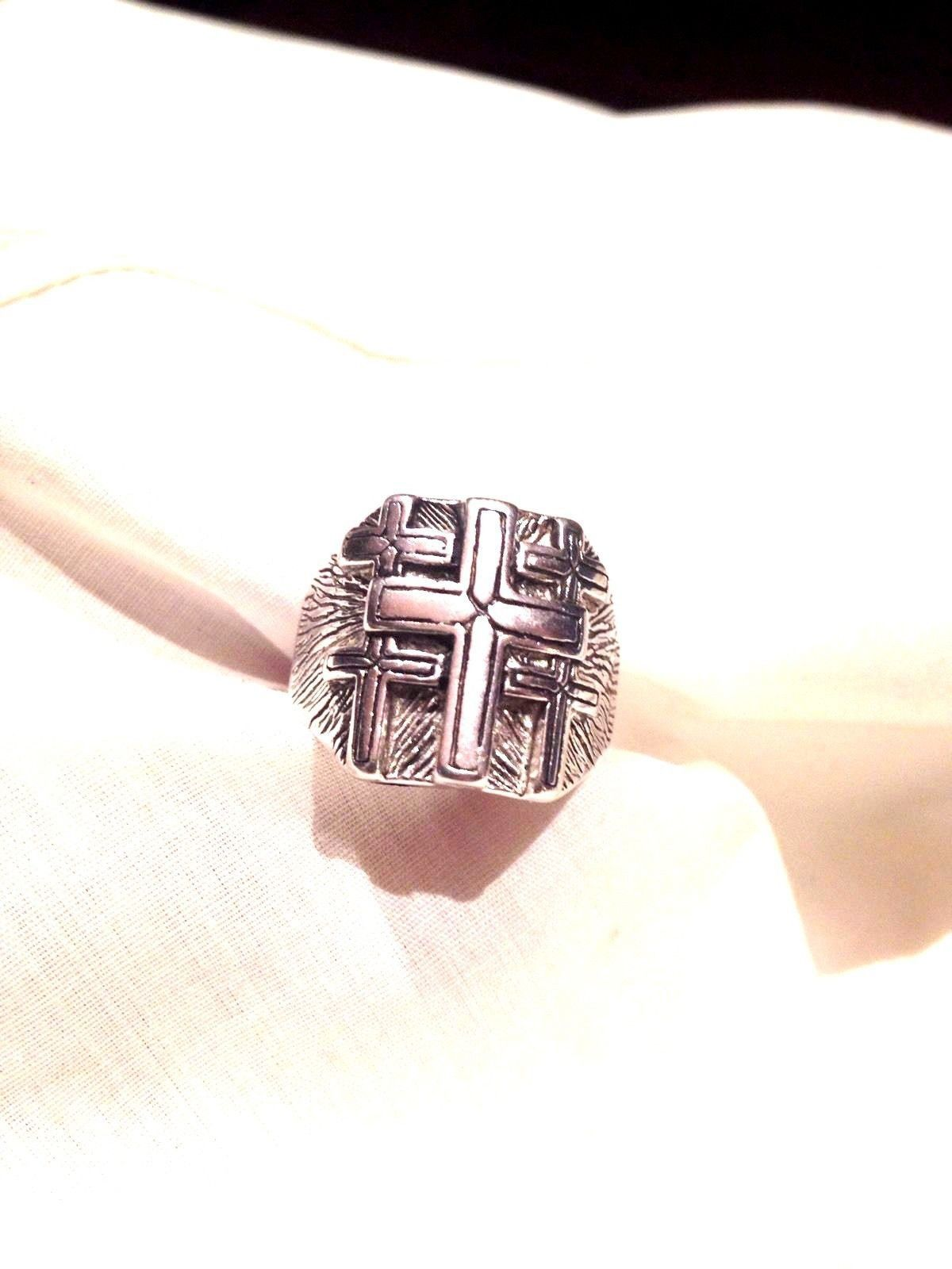 1980S Vintage Large Stainless Steel Size 7 Mens Crossinlay Ring