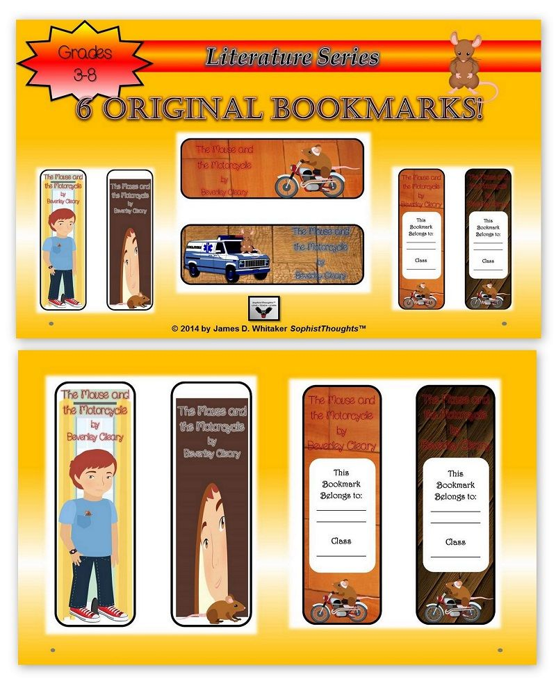 Printable Worksheets the mouse and the motorcycle worksheets : Treat Your Students to 6 Visually Stunning Bookmarks based on ...