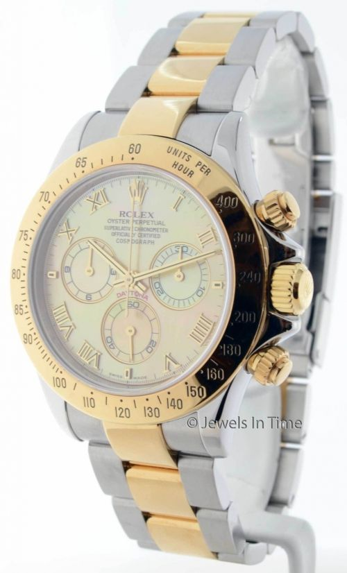Rolex Men's Daytona 18K Gold & Steel Chronograph MOP Roman Dial 116523