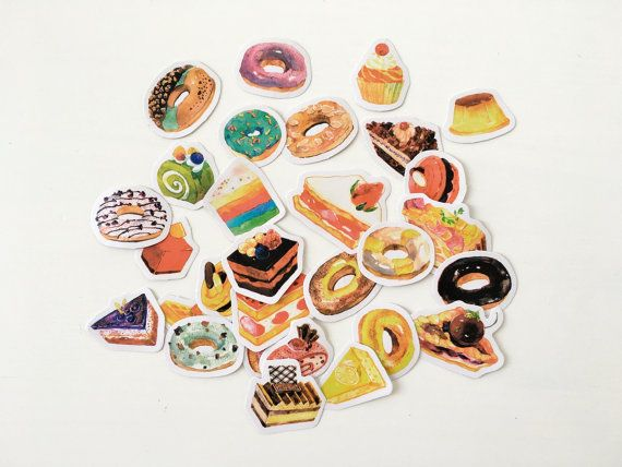Items similar to donut stickers 29 pcs planner stickers die cut stickers scrapbooking embellishment diy essentials on etsy