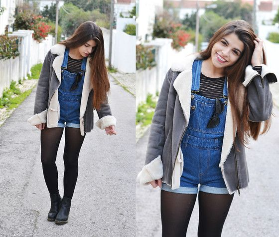 Chicnova Dungarees, Romwe Stiped Top, Pepe Jeans Jacket, Zero Uv Sunglasses, Dr. Martens Doc Martens