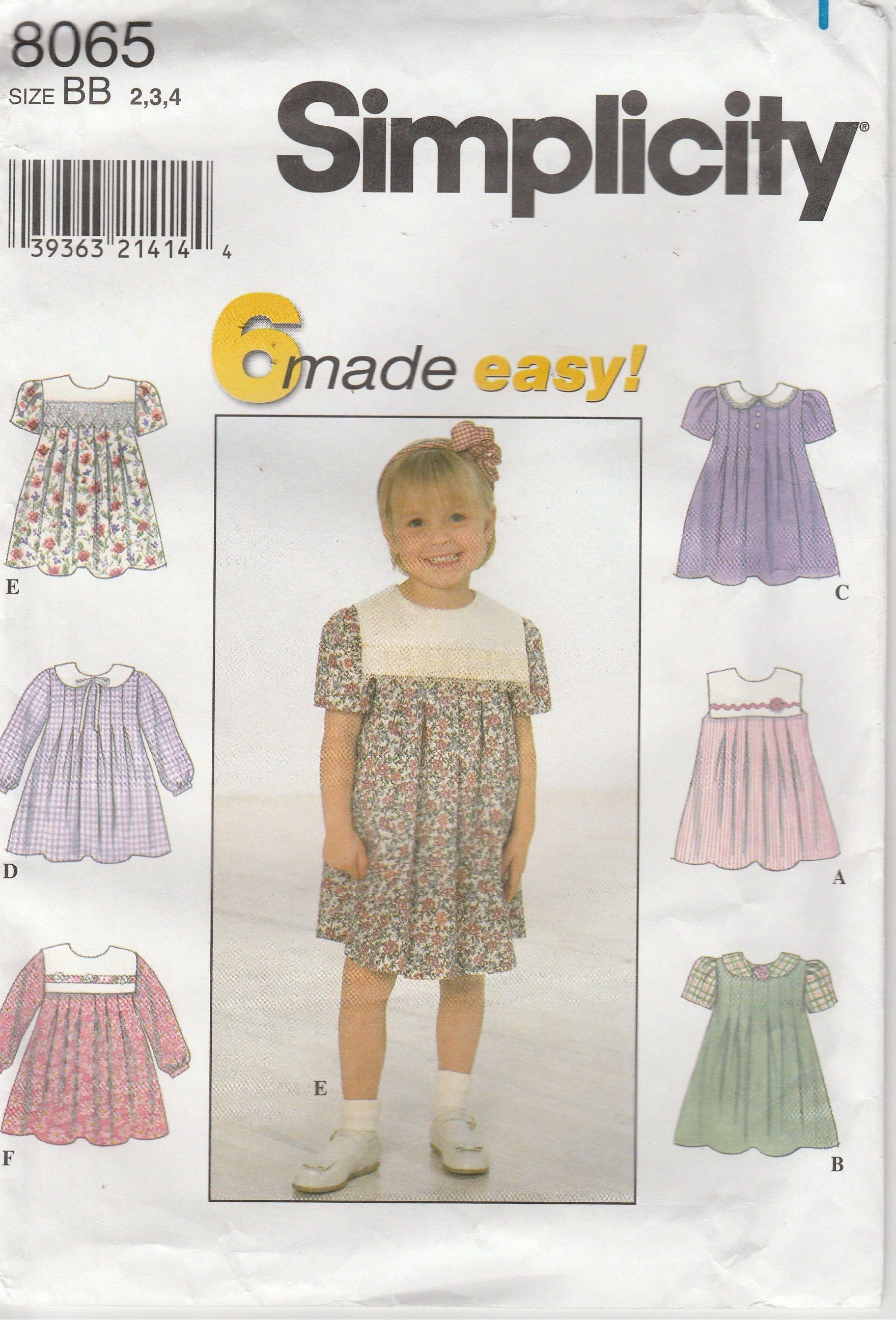 755ed503e Girls Dress Pattern Long Short Sleeve Square Collar more Easy Uncut ...