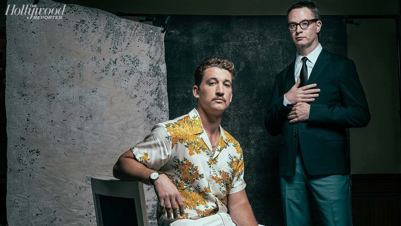 Too Old To Die Young Star Miles Teller With Co Creator Nicolas Winding Refn Photographer Officina Malt The Hollywood Reporter Painted Backdrops Miles Teller