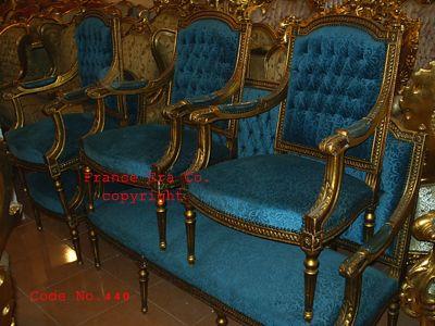 la française Louis XVI, sculpté en bois doré Salon set, canape de ...