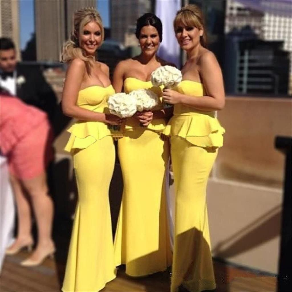 Yellow bridesmaid dressesmermaid bridesmaid dresseslong bridesmaid