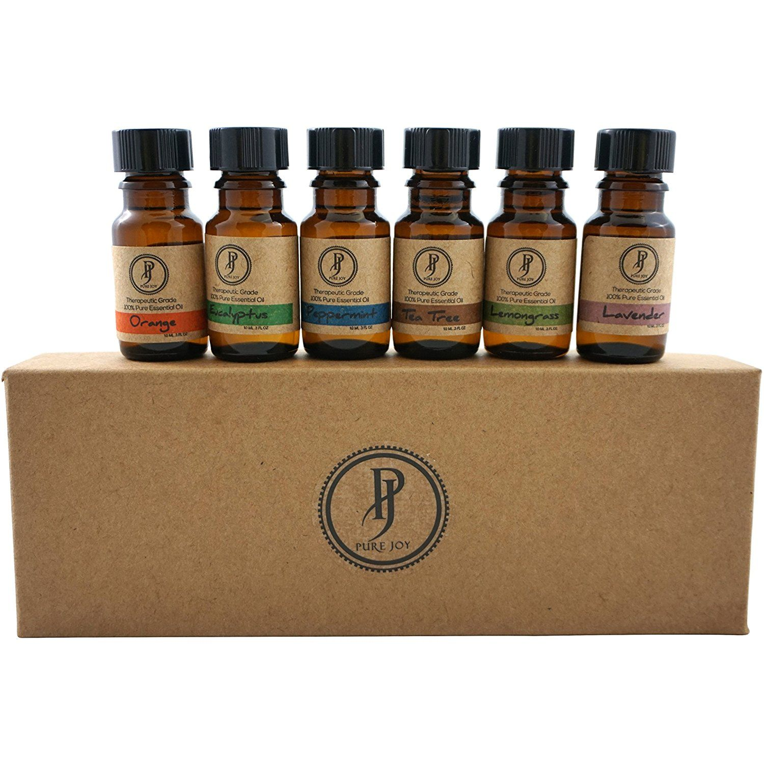 Pure Joy Aromatherapy Premium Kit Top 6 Essential Oils Gift Set 10ml ...