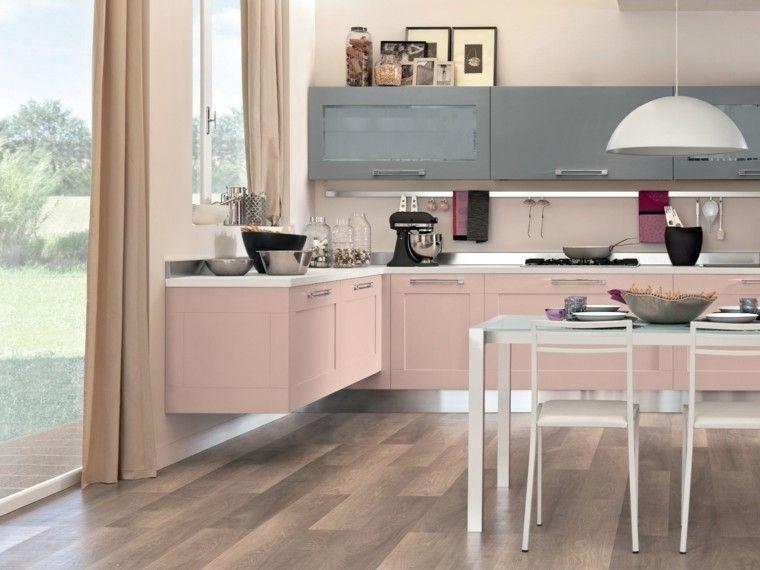 cocina moderna con muebles en color rosa claro colores