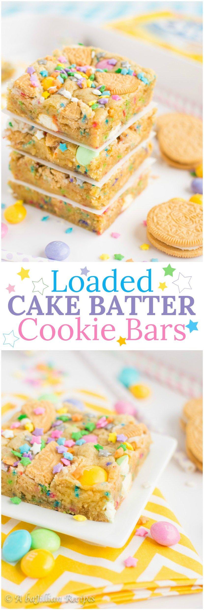 Loaded Cake Batter Cookie Bars Birthday cake oreos Cake batter