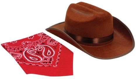 Amazon.com   Brown Jr. Cowboy Hat with Red Bandana   Childrens Costume  Headwear And Hats   Toys   Games eea89f06fad
