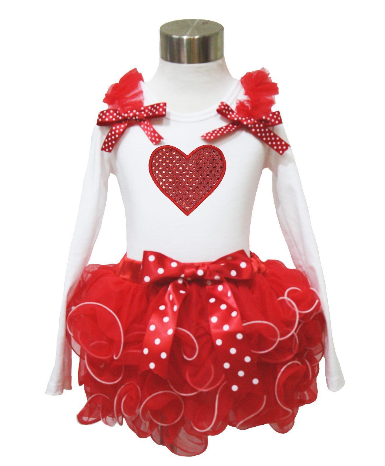 Petitebella Daddy Girl White L//s Shirt Dots hearts Pink Petal Skirt Nb-8y