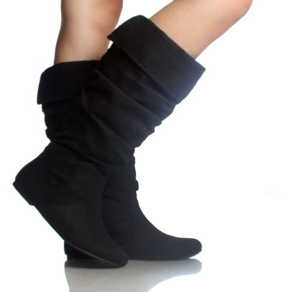 Black-Suede Slouch Scrunch Pull On Women's Flat Mid-Calf Boots ...