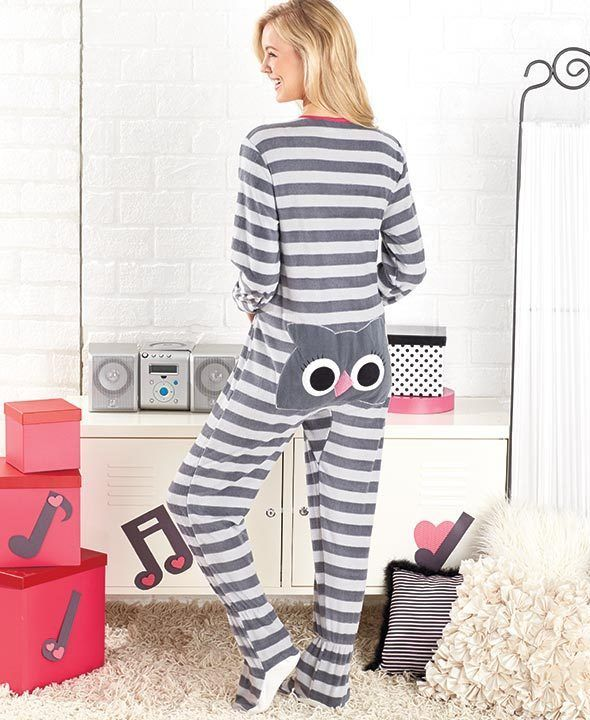 Women's Owl Animal Seat Footed Pajamas Onesie Critter PJs Small, M ...