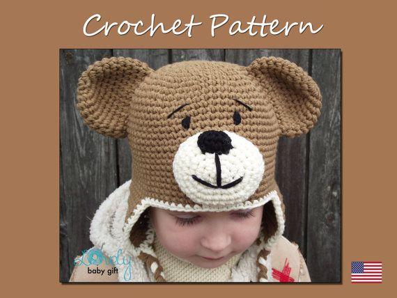 Earflap Teddy Bear Hat Crochet Pattern, Toddler Hat, Baby Winter Hat ...