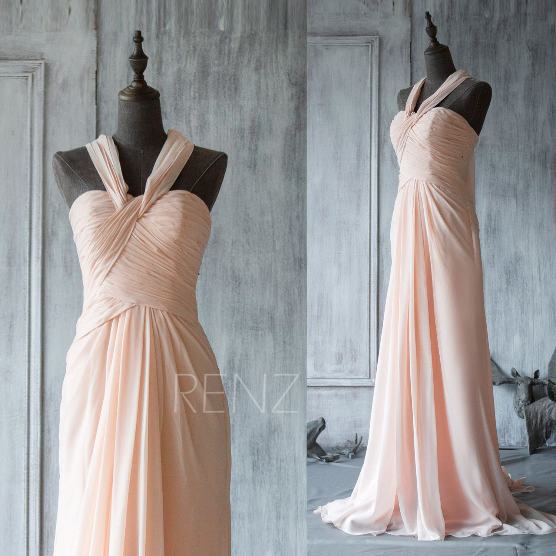 2015 New Chiffon peach Bridesmaid dress, blush dress,halter ...