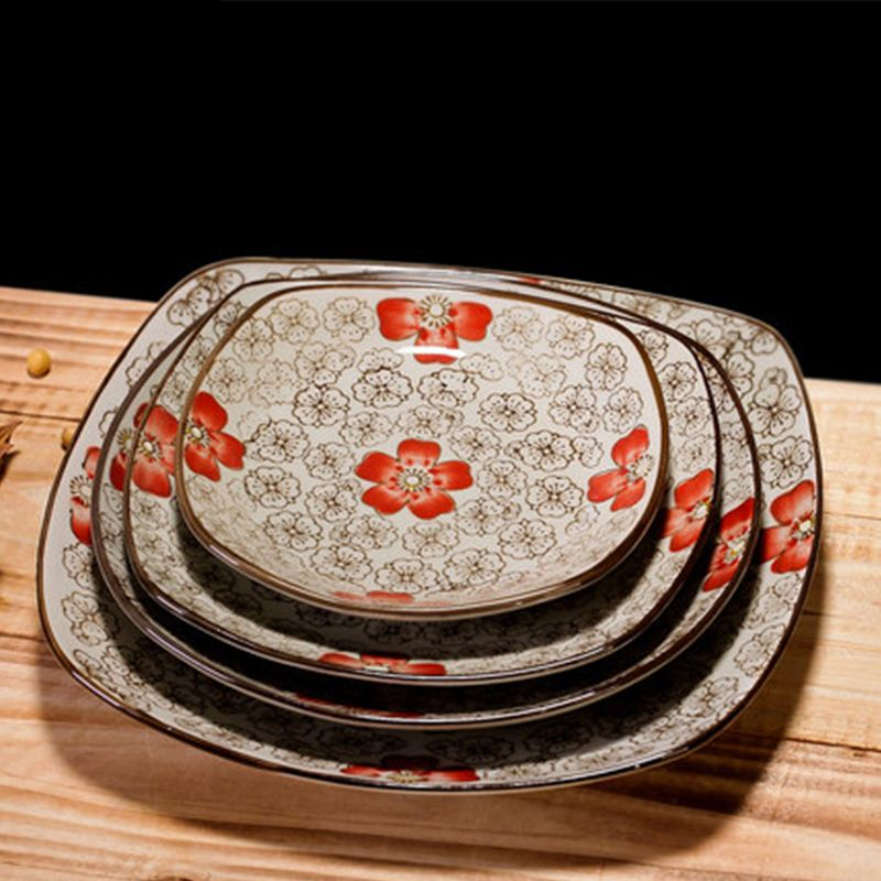 Japanese style ceramic square plate sushi plate creative plant flower series pastry dish steak plate tableware & Japanese style ceramic square plate sushi plate creative plant ...