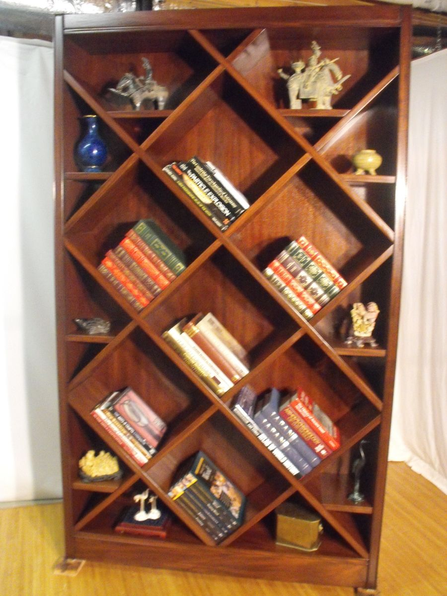 bookcase curio with diagonal shelves design ideas