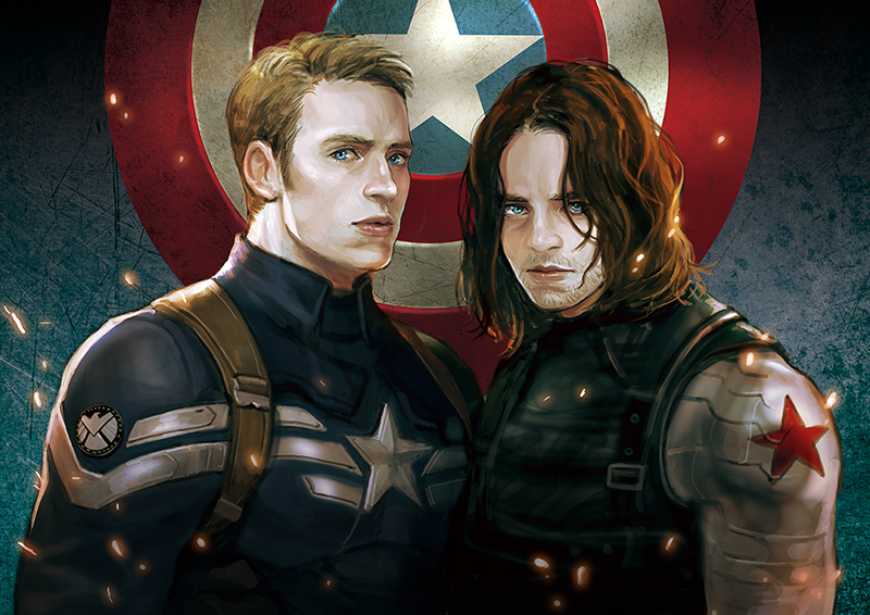 Ha. They look like they were interrupted in the middle of a conversation and told to look at the artist. Steve's sort of wary and startled, and Bucky's thinking seriously about murdering someone ...