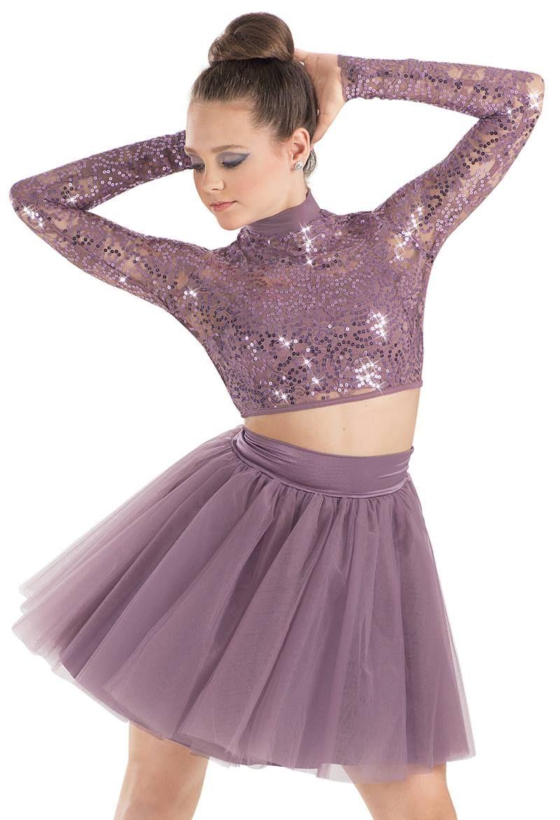 Weissman™ | Sequin Lace Long Sleeve Crop Top | Dance costumes ...