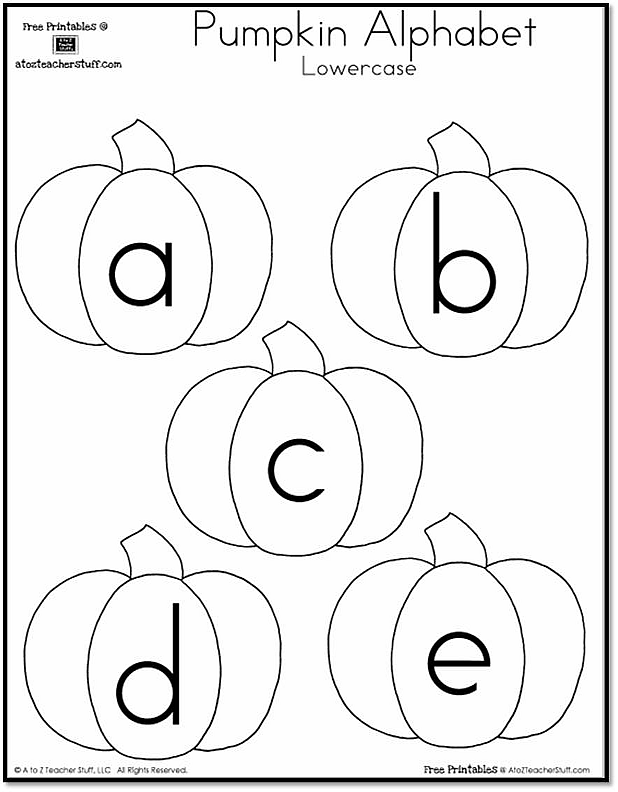 Pumpkin Lowercase Alphabet Free Printables Alphabet Worksheets Preschool Halloween Preschool Alphabet Preschool