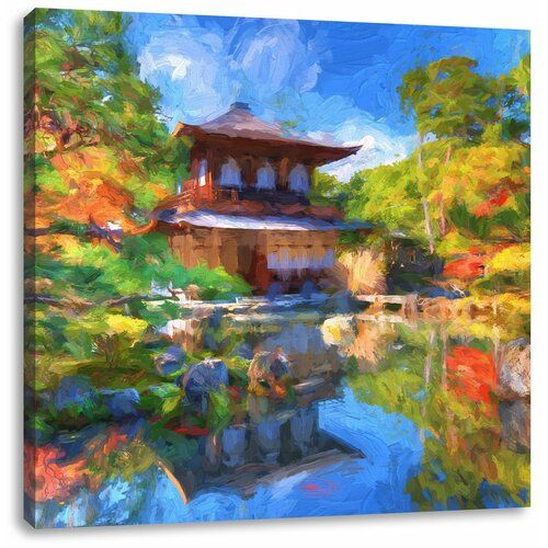 Ginkaku-ji-Temple in Kyoto Photographic Print on Canvass East Urban Home Size: 40cm H x 40cm W