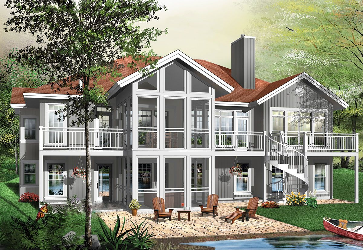 Plan 21180dr Five Bedroom Mountain House Plan In 2021 Contemporary House Plans Vacation House Plans Craftsman Style House Plans