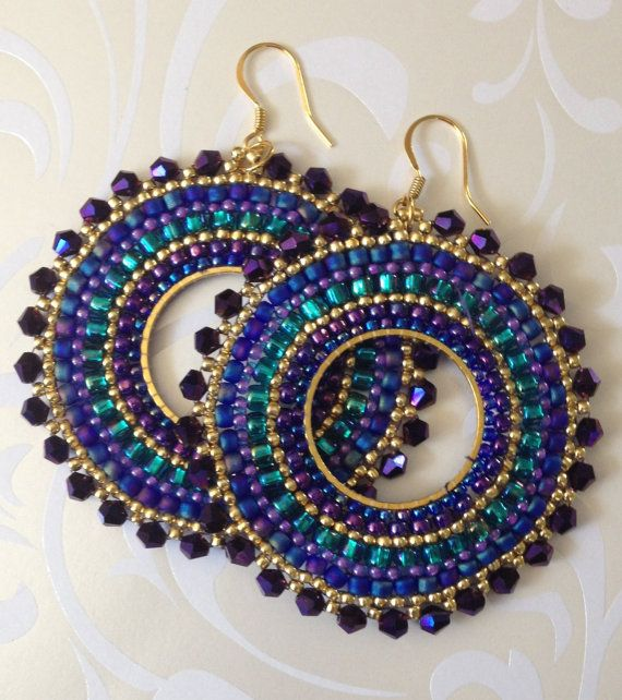 RESERVED LISTING  Beadwork Hoop Earrings  Metallic by WorkofHeart