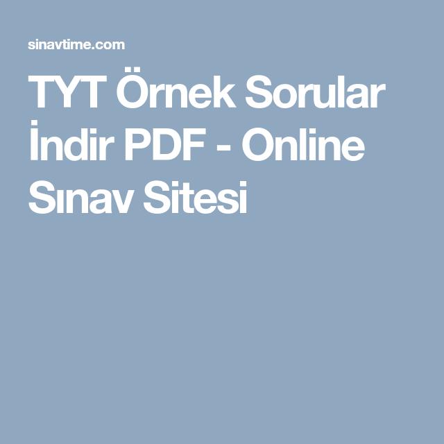 TYT Örnek Sorular İndir PDF - Online Sınav Sitesi