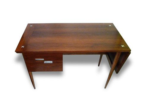 Mid Century Modern Desk By American Of Martinsville Drop Leaf Inlay Walnut Vintage On Etsy 995 00 Mid Century Modern Desk Modern Desk Midcentury Modern