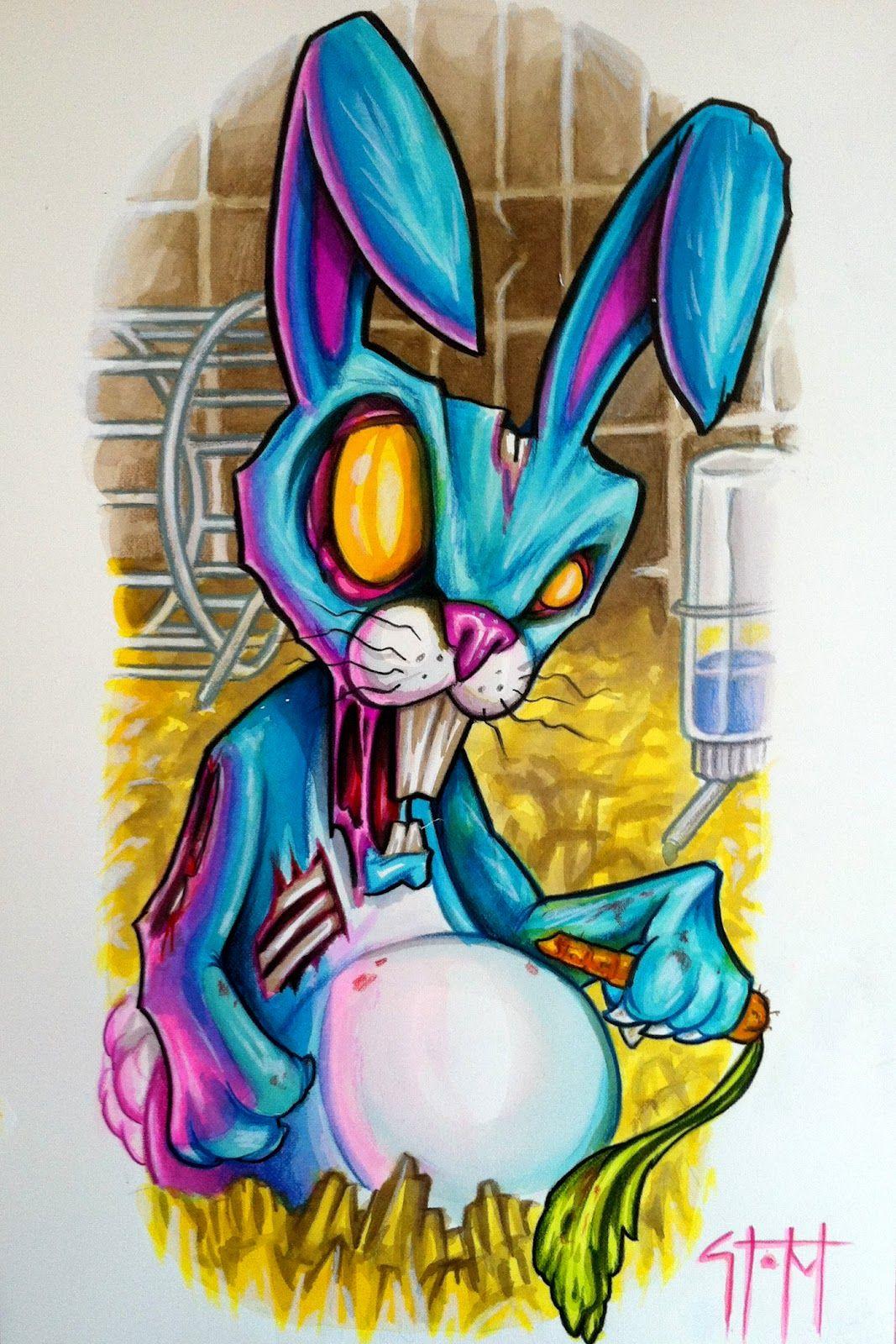 Graffiti art tattoo - Zombie Bunny
