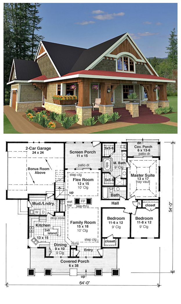 Bungalow house plans on pinterest bungalow floor plans for One story bungalow style house plans