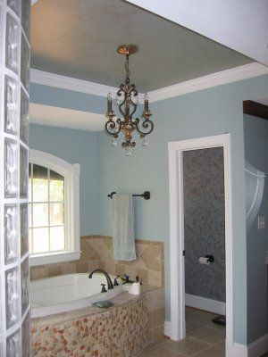 Tan Cream Tile Blue Walls And White Tub Hmmm A Bit Too Much But Good Colors Together For Relaxing Bath Colored Ceiling Home Bathroom Colors