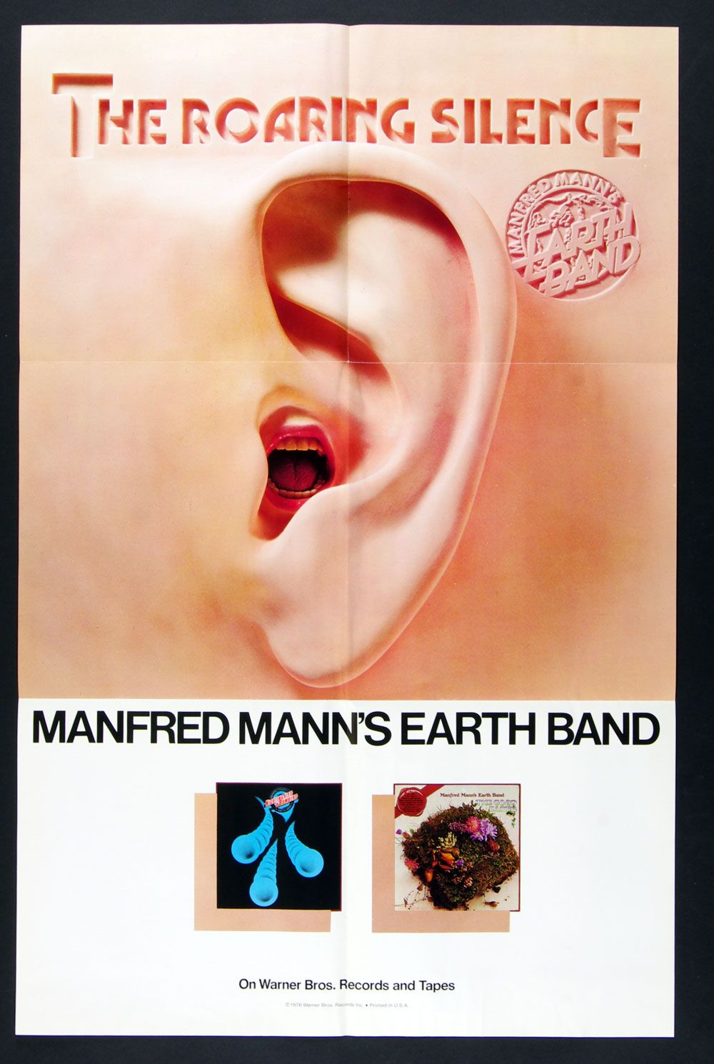 Manfred Mann's Earth Band The Roaring Silence 1976 New Album Vintage Poster 23 x 35