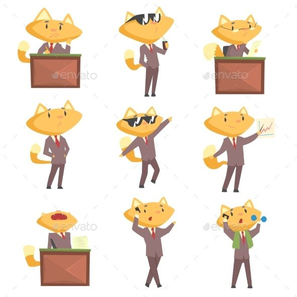 Businessman Fox Character at Work and Rest