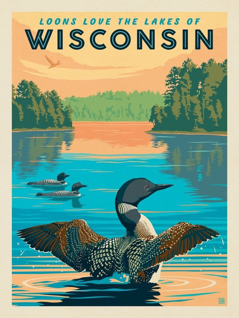 Anderson Design Group American Travel Wisconsin Loons Retro Travel Poster National Park Posters Wisconsin Travel