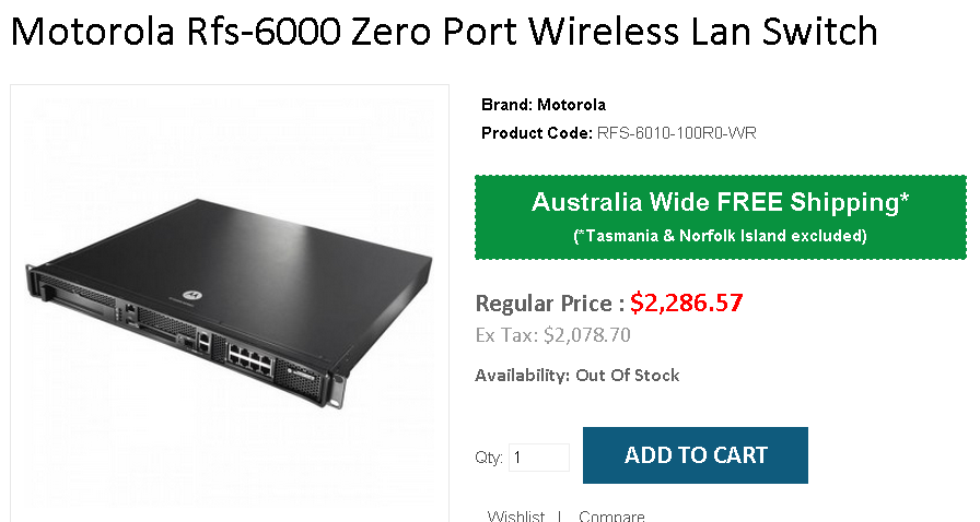 Motorola Rfs-6000 Zero Port Wireless Lan Switch