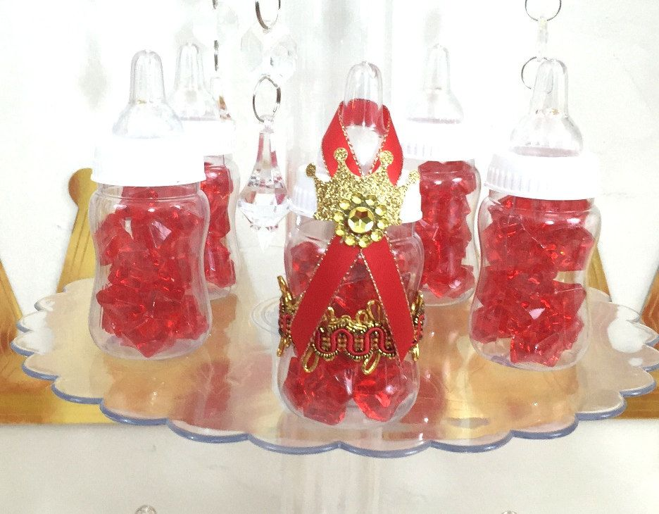 12 RED and GOLD Prince Baby Shower Party Favors / Boys Red and Gold ...