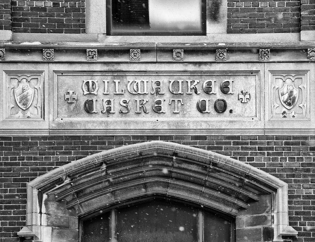 Milwaukee Casket Co. Building Black and White Photograph